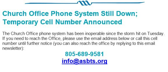 Church Office Phone System Still Down; Temporary Cell Number Announced